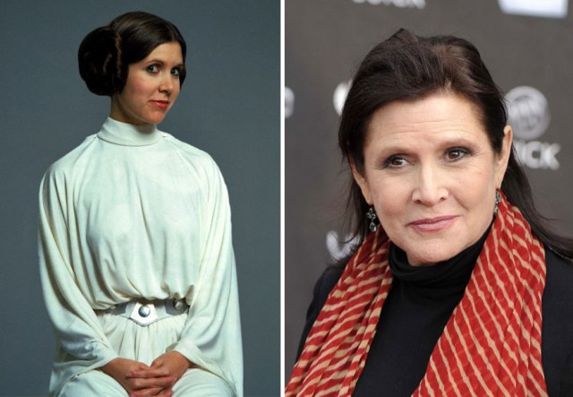 Carrie Fisher dan Princess Leia, 1977 dan 2015
