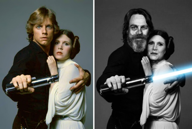 Mark Hamill dan Carrie Fisher sebagai Luke Skywalker dan Princess Leia, 1977 And 2015